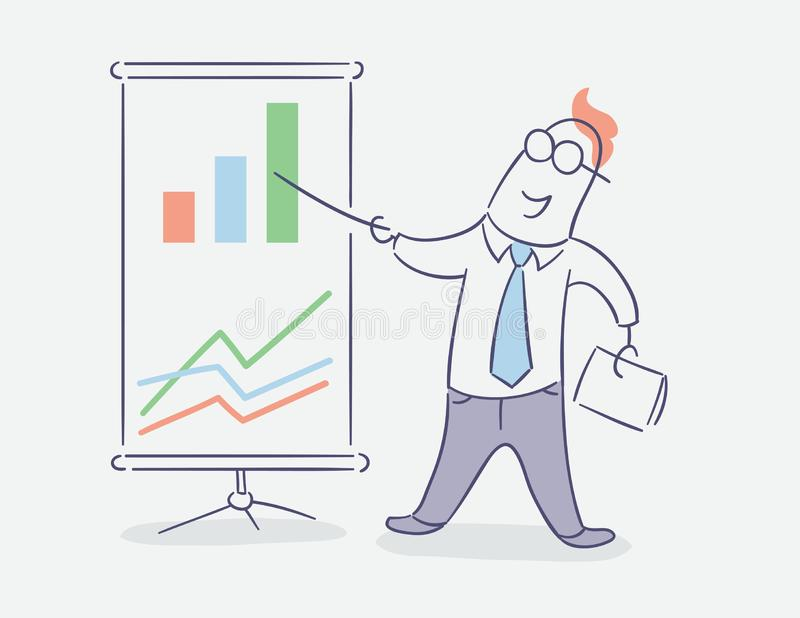 Continuous line drawing of business situation - two men doing high five. Vector linear illustration royalty free illustration