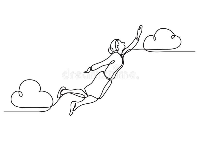 Continuous line drawing of business situation - business woman flying high stock illustration