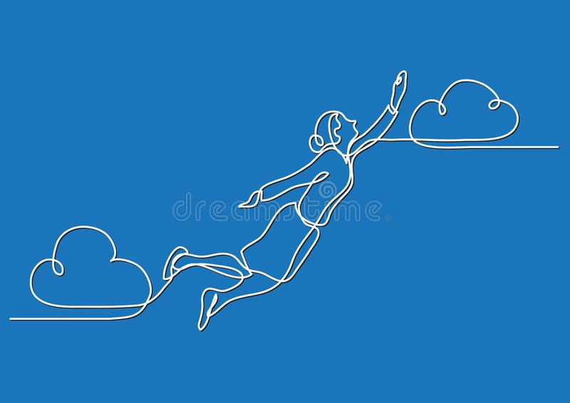 Continuous line drawing of business situation - business woman flying high. Vector linear illustration vector illustration