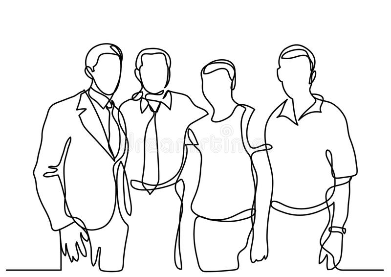 Continuous line drawing of business team stock illustration