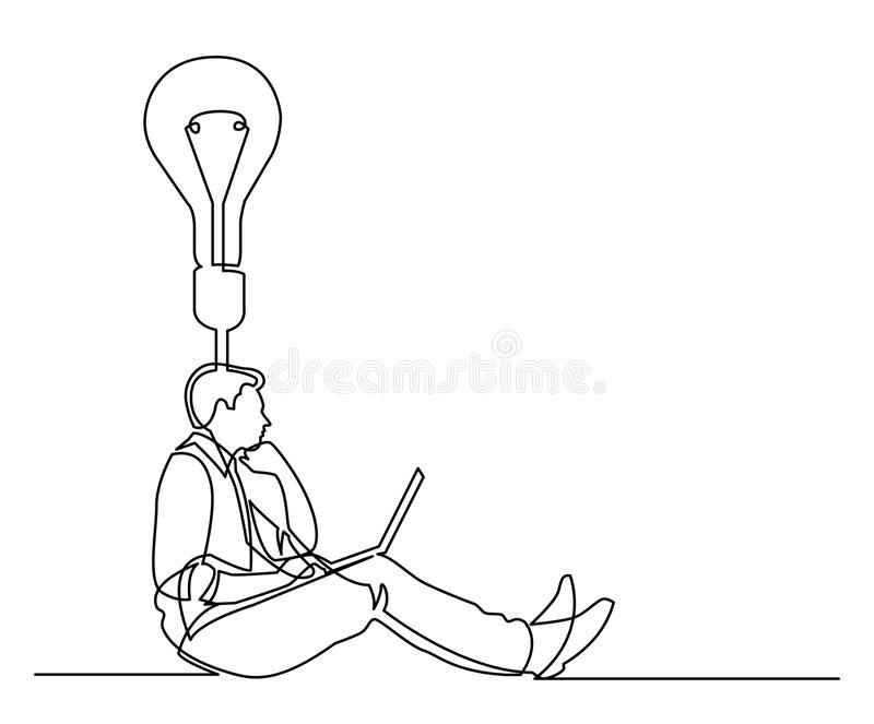 Continuous line drawing of businessman sitting-thinking about id royalty free illustration