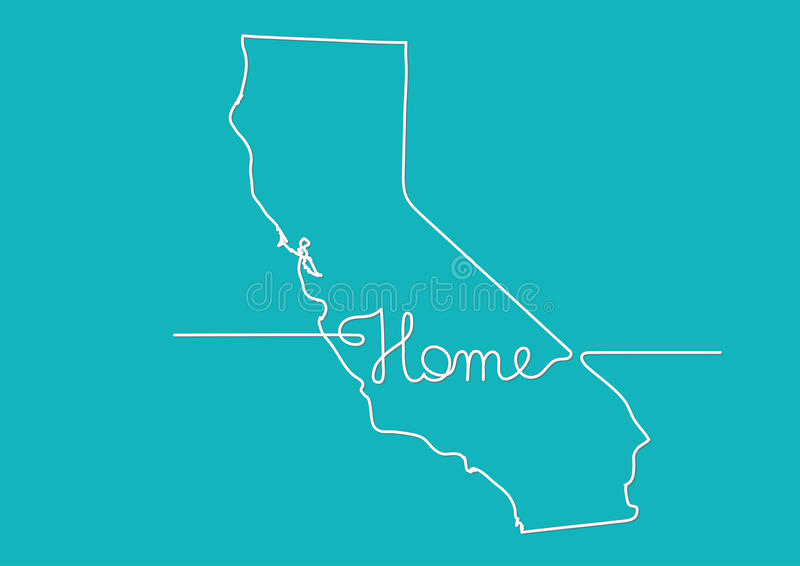 Continuous Line Drawing Of California Home Sign Stock Vector