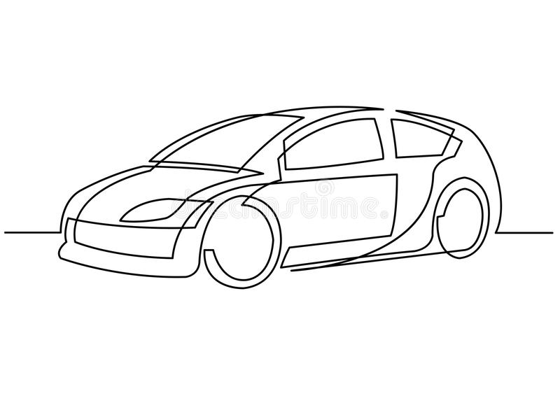 Line Drawing Editor : Continuous line drawing of car stock vector image