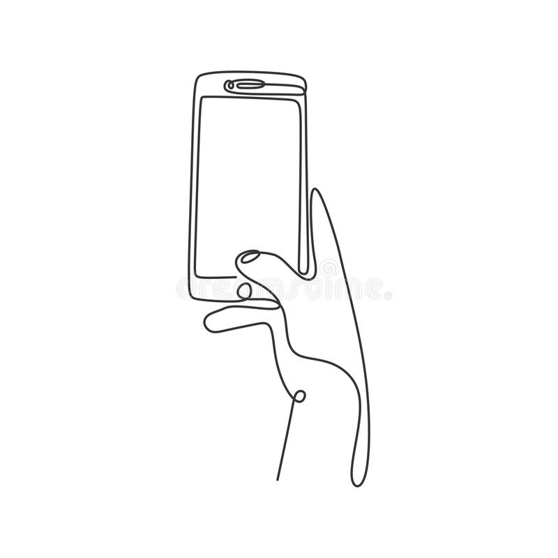 Continuous line drawing cellphone minimal design on white bacgkround royalty free stock photos