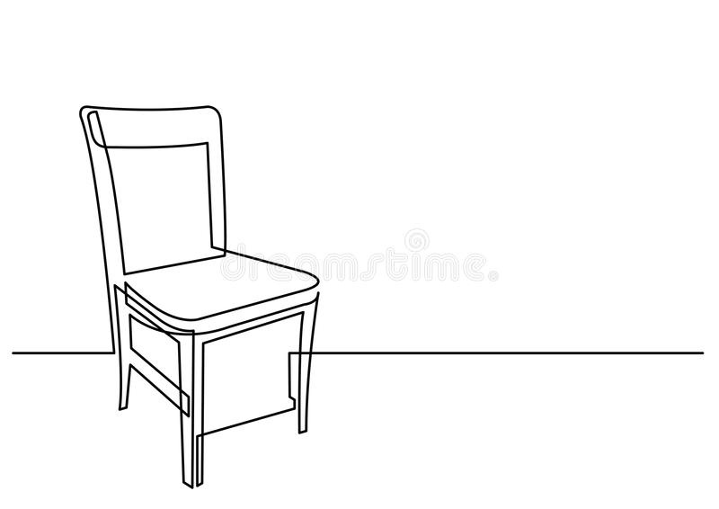 Continuous Line Drawing Of Chair Stock Vector Illustration of