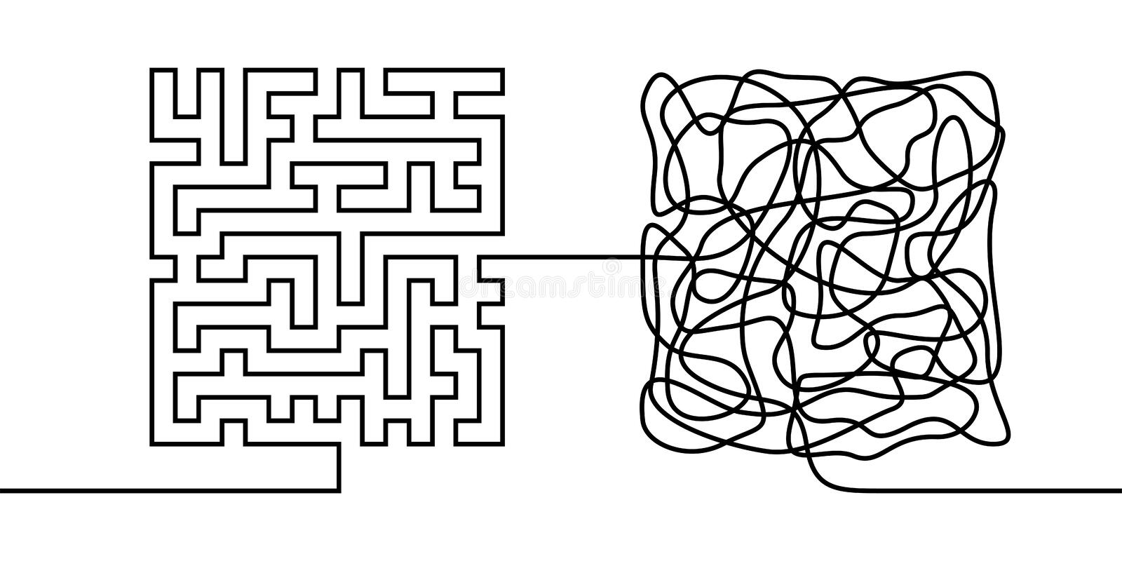 Continuous line drawing a chaos and order concept. Chaos theory metaphor minimalist single line vector illustration stock illustration