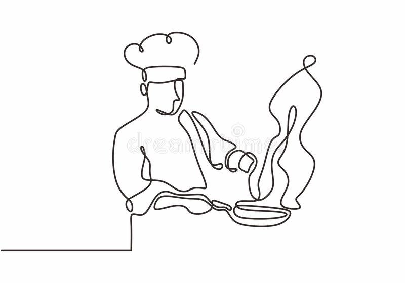 Continuous line drawing of chef cooking big meal food vector illustratiom. Cafe, restaurant, graphic, kitchen, outline, isolated, illustration, cuisine royalty free illustration