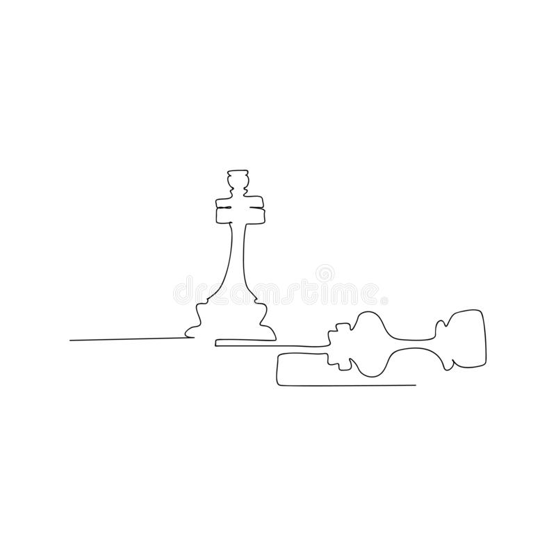 continuous line drawing of chess pieces queen and king. isolated sketch drawing of chess pieces queen and king line concept. stock illustration