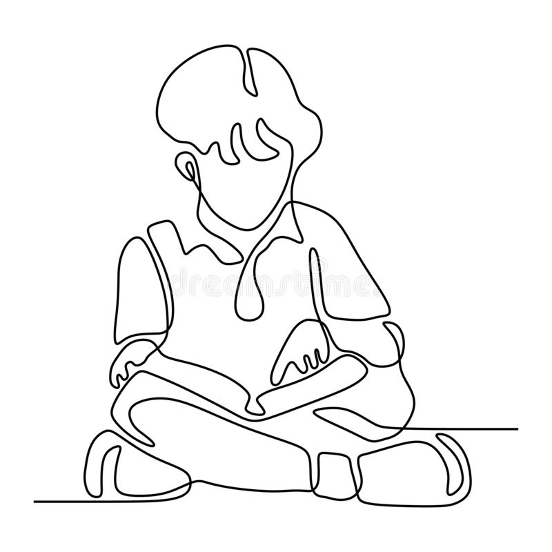 continuous line drawing of children read book minimalist vector illustration. Back to school theme royalty free illustration