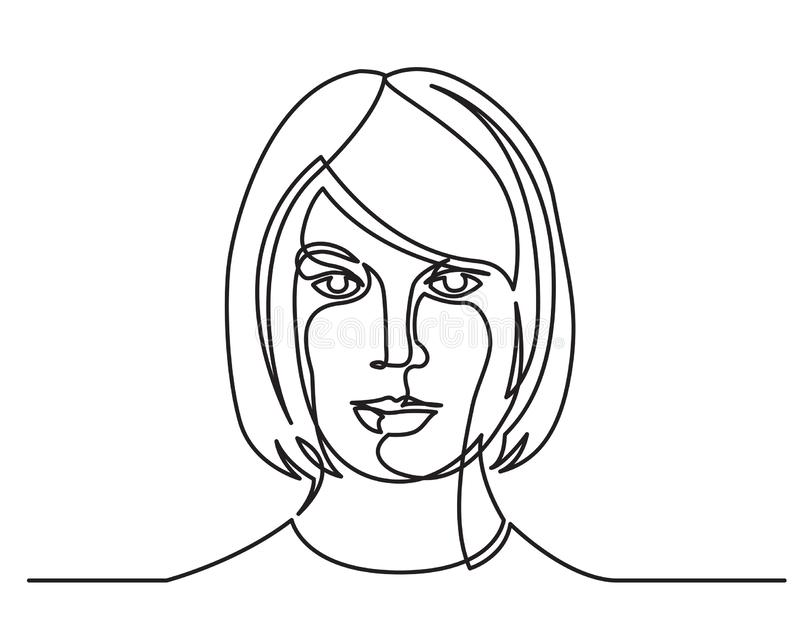 Continuous line drawing of confident woman portrait on white background. Vector linear monochrome style illustration vector illustration