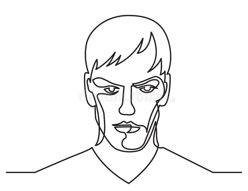 Continuous line drawing of confident young man portrait on white background. Vector linear monochrome style illustration vector illustration