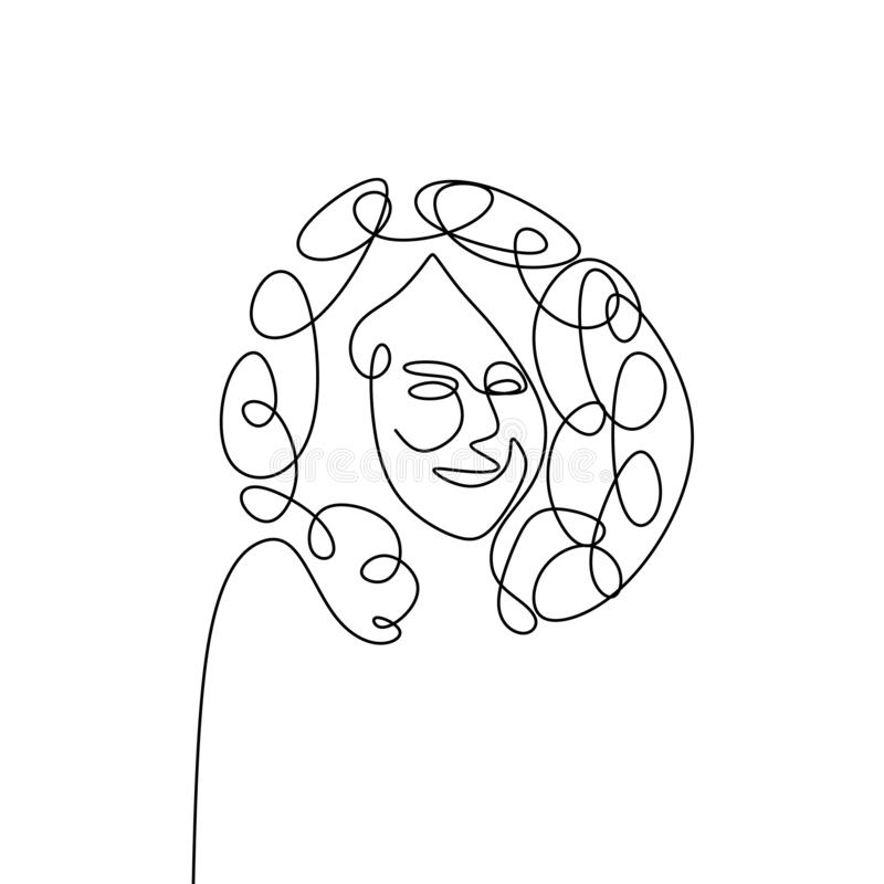 continuous line drawing continues curly hair face stock illustration