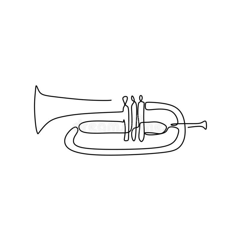 Continuous line drawing Cornet music instrument vector illustration minimalist design. Trumpet, musical, orchestra, brass, jazz, sound, isolated, band stock illustration