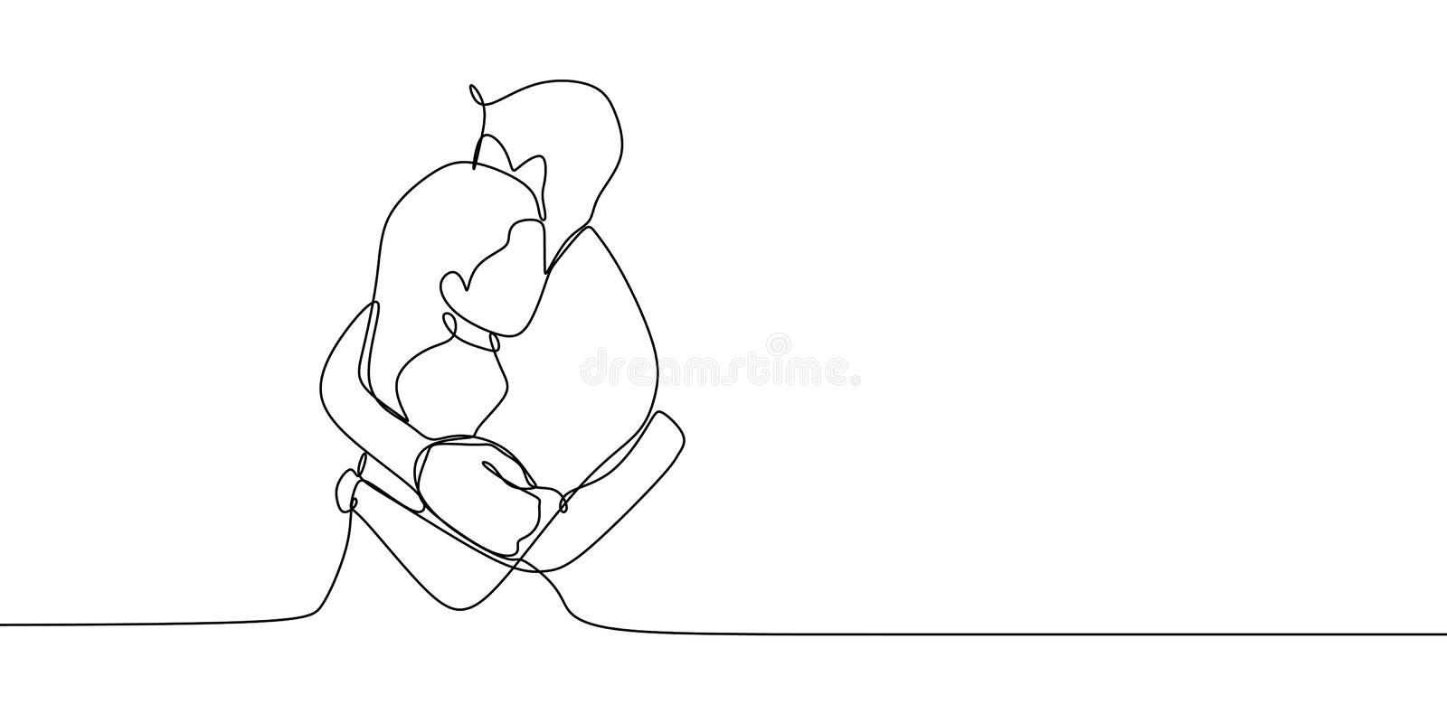 Continuous line drawing of a couple hug vector illustration. Romantic concept of romance love design in minimalist style. One Continuous line drawing of a couple royalty free illustration