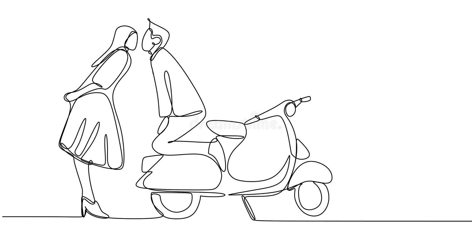 Continuous line drawing of a couple kiss with retro scooter motor bike. Vintage creative minimalist concept of romance stock illustration