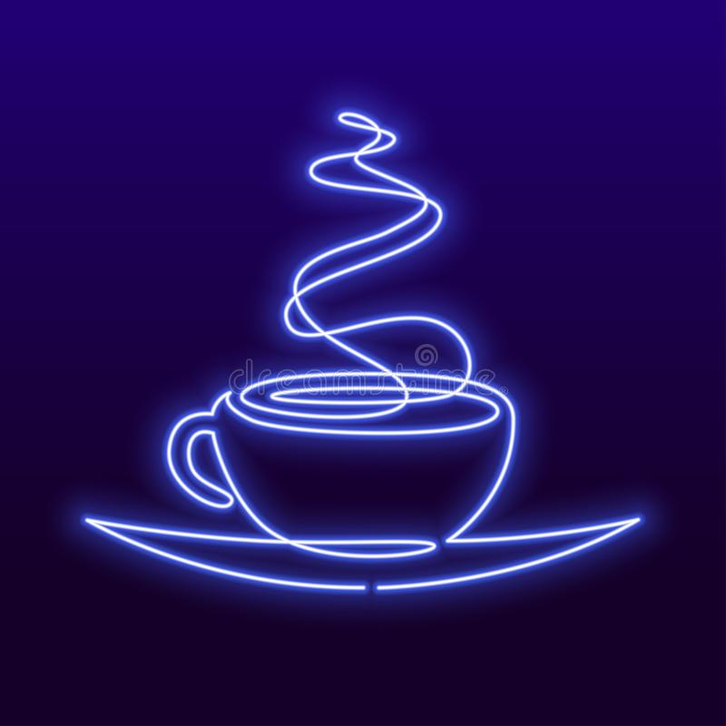 Continuous line drawing of cup of tea or coffee with steam linear icon. Vector neon sign, bright signboard, light banner vector illustration