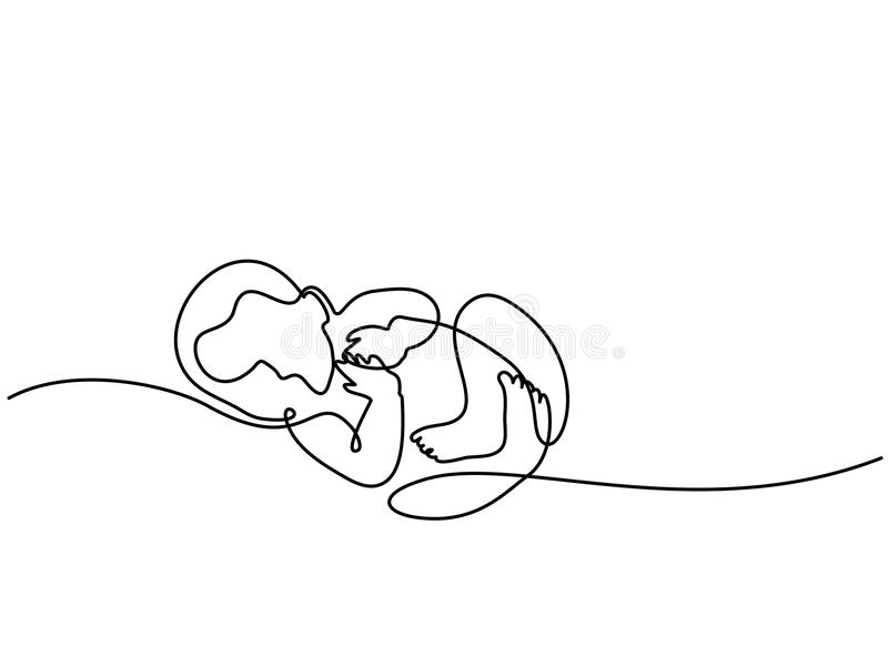 Cute baby is lying on the white background. Continuous line drawing. Cute baby is lying on the white background. Vector illustration. Concept for logo, card vector illustration