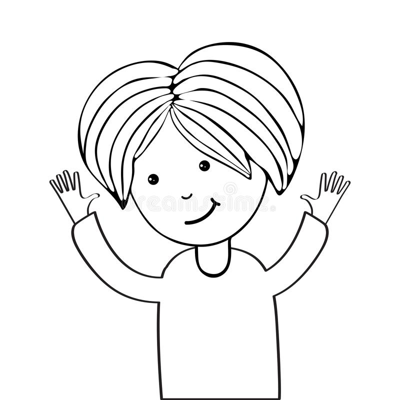 Continuous line, drawing of cute girl. Art line illustration. Funny girl smiling, sketch for your design. Female character in the stock illustration