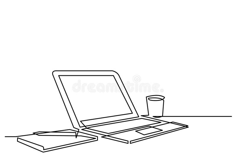 Continuous line drawing of desk laptop computer pen stock illustration