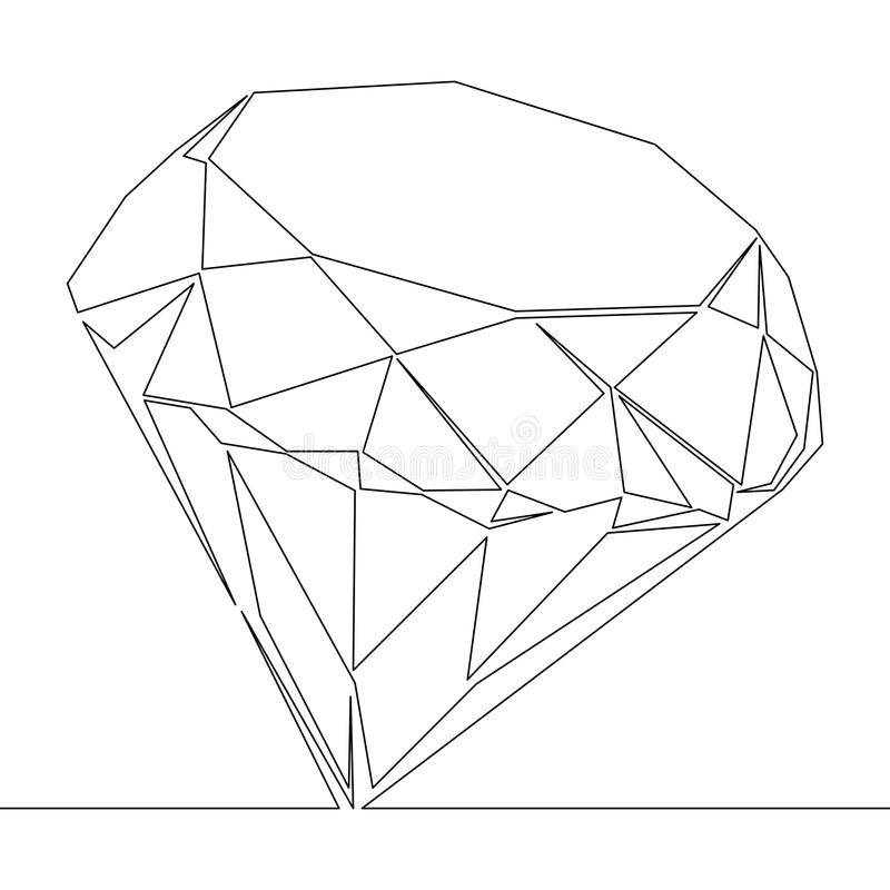 Continuous line drawing Diamond outline vector stock illustration