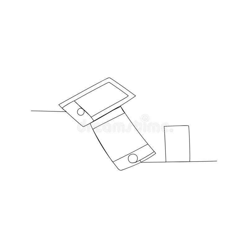 Continuous line drawing of digital devices. isolated sketch drawing of digital devices line concept. outline thin stroke vector. Illustration stock illustration