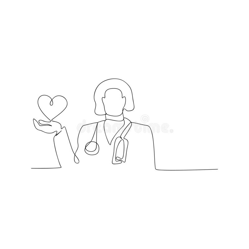 Continuous line drawing of doctor with stethoscope keeping heart. isolated sketch drawing of doctor with stethoscope keeping heart. Line concept. outline thin royalty free illustration