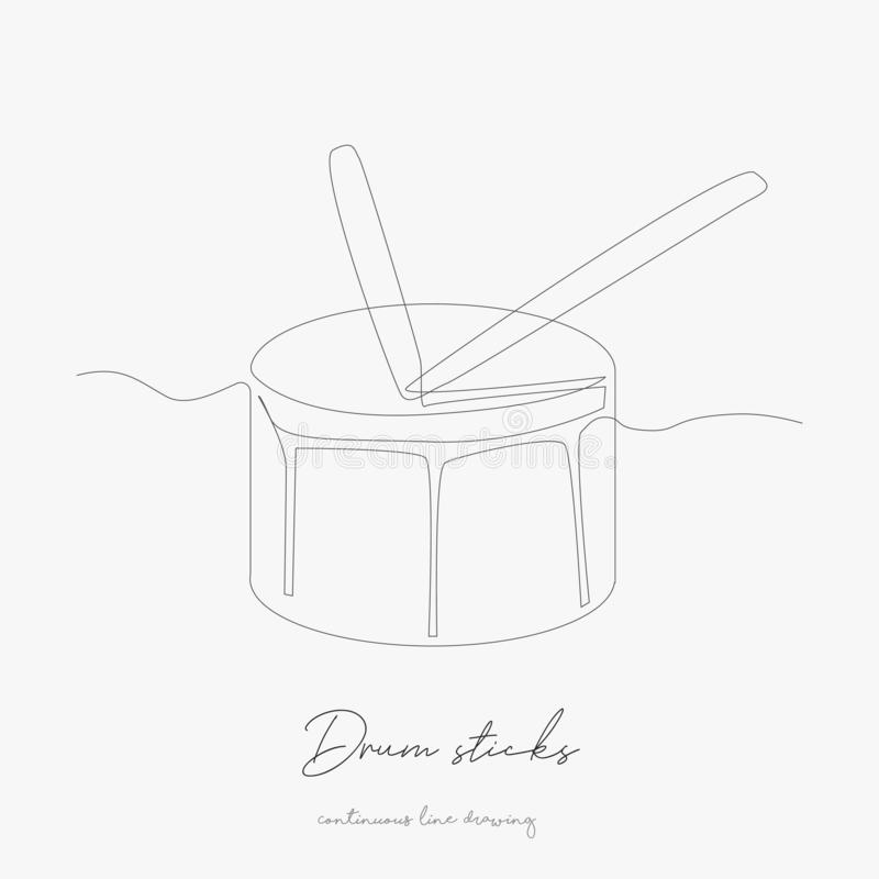 Continuous line drawing. drum sticks. simple vector illustration. drum sticks concept hand drawing sketch line stock illustration