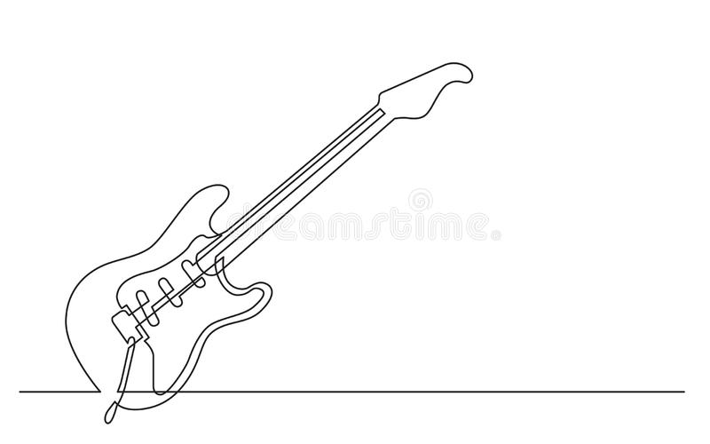 Continuous line drawing of electric guitar with three single coil pickups and tremolo. Vector linear monochrome style image vector illustration