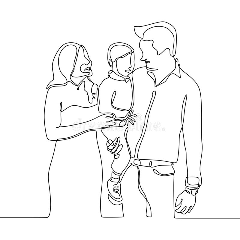 Continuous line drawing of a family member. Father, mom, and their kid stock illustration