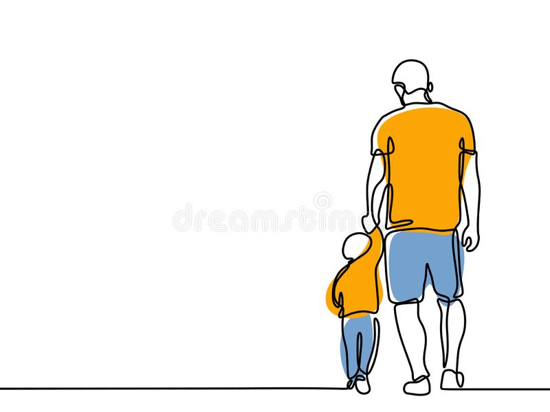 Continuous line drawing of a father and children lovely family concept Father's Day card happiness moment royalty free illustration