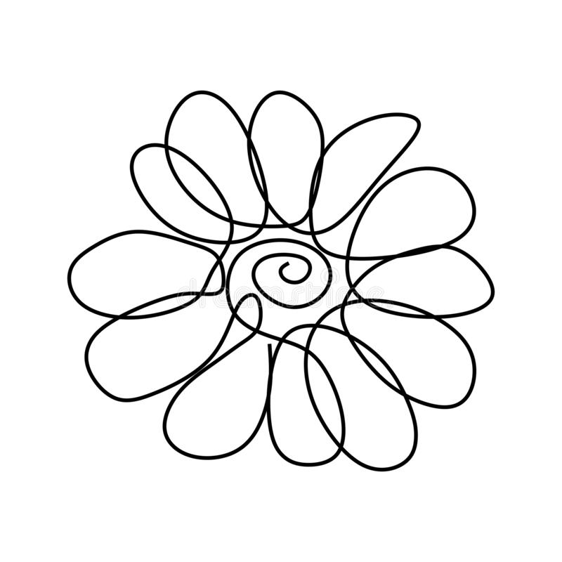 Continuous line drawing flower petal minimalism design. Spring, illustration, decoration, one, sketch, floral, nature, isolated, leaf, beauty, blossom stock illustration