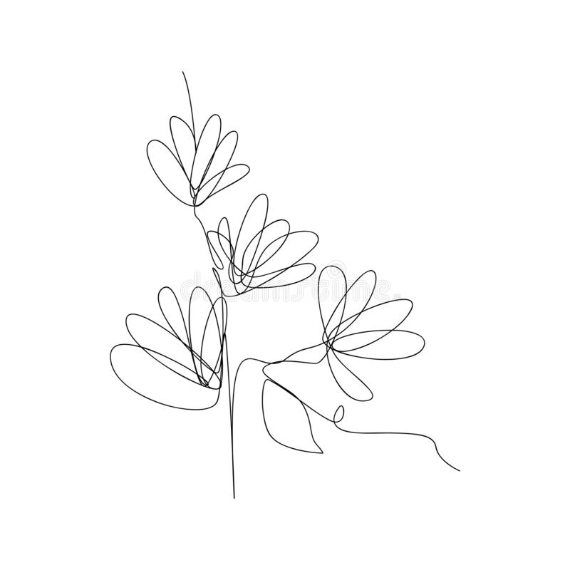 continuous line drawing of flower petals. isolated sketch drawing of flower petals line concept. outline thin stroke vector stock illustration