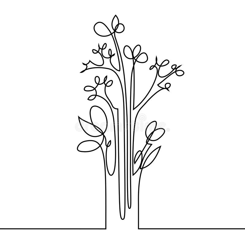 Download continuous line drawing of flowers stock vector illustration of drawing drawn 93567244