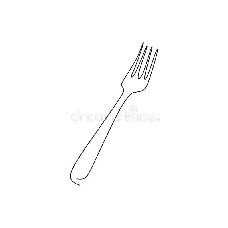 continuous line drawing of fork with a very simple line vector illustration