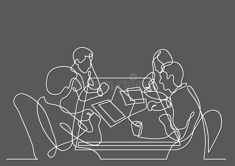 Continuous line drawing of four team members working together royalty free illustration