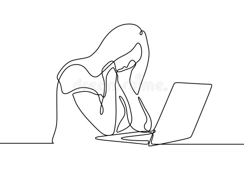 Continuous line drawing of girl with laptop feels frustrated expressing distress and annoyance of display on her notebook. Maybe. She cannot finishing her job vector illustration