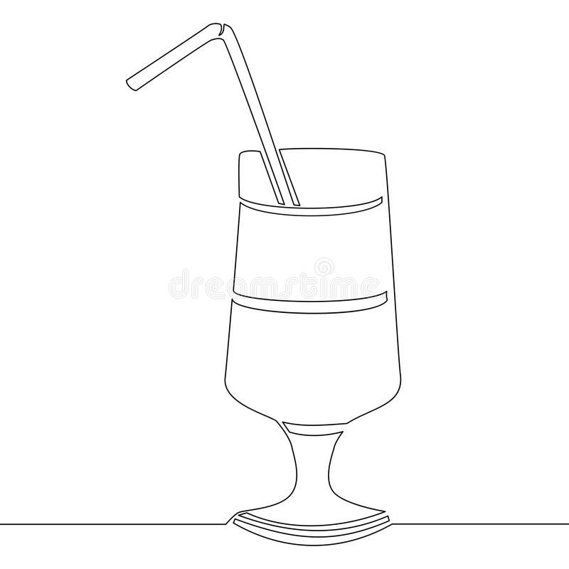 Continuous line drawing glass of cocktail vector stock illustration
