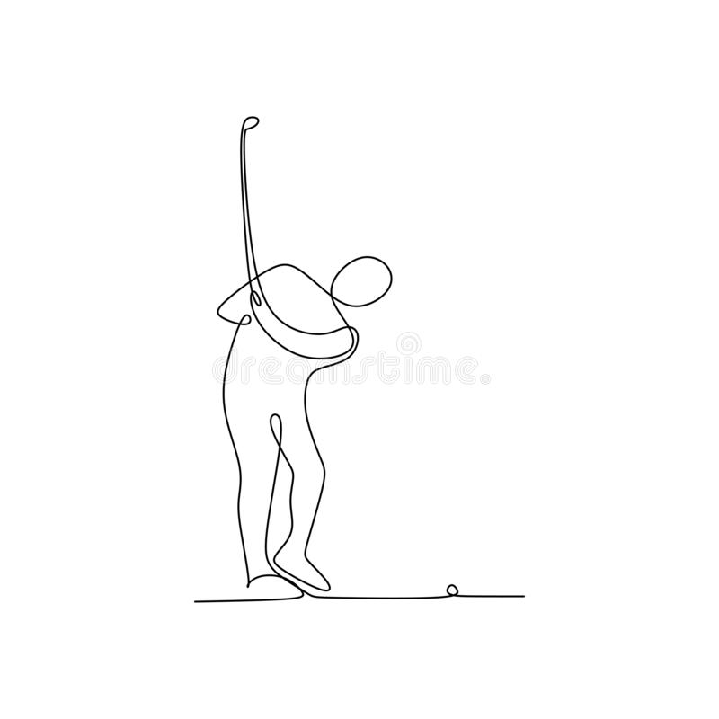 Continuous line drawing of golf player pull the ball. Art black hand man background sport sketch illustration person silhouette recreation icon modern royalty free illustration