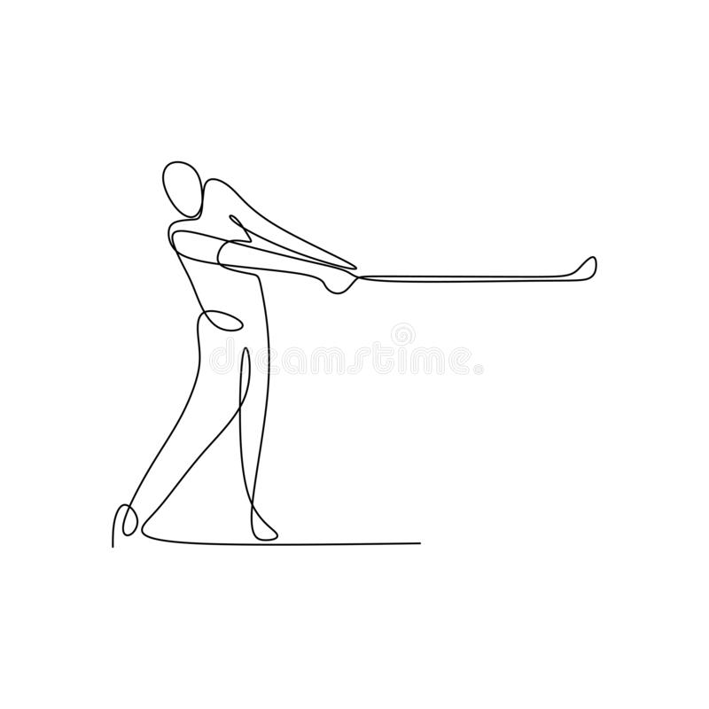 Continuous line drawing of golf player pull the ball. Art black hand man background sport sketch illustration person silhouette recreation icon modern vector illustration
