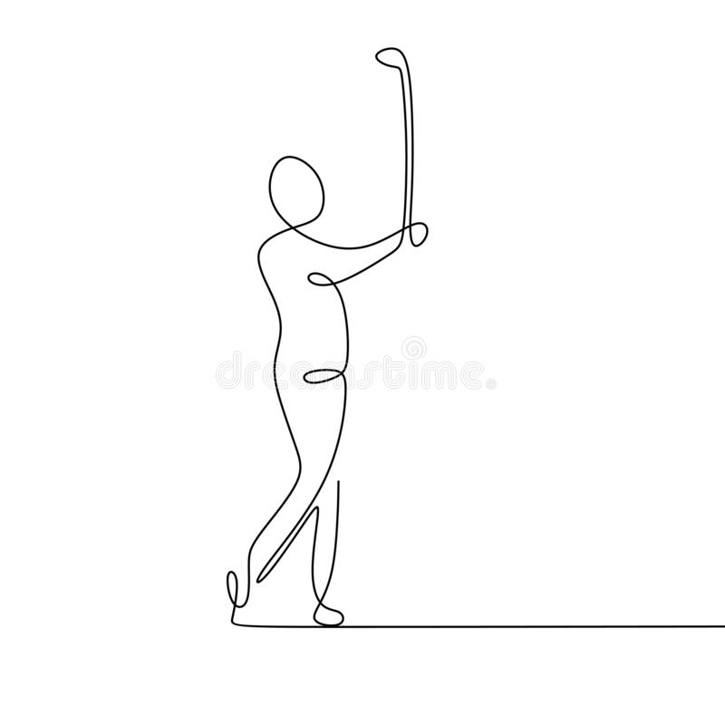 Continuous line drawing of golf player pull the ball. Art black hand man background sport sketch illustration person silhouette recreation icon modern stock illustration