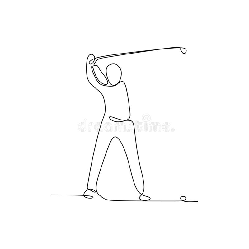 Continuous line drawing of golf player pull the ball during the championship. Art black hand man background sport sketch illustration person silhouette royalty free illustration