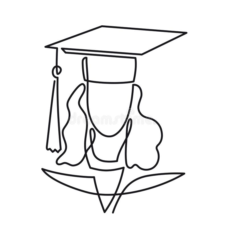 Continuous Line Drawing of Graduation student vector one line art icon isolated on white background. Graduate woman stock illustration