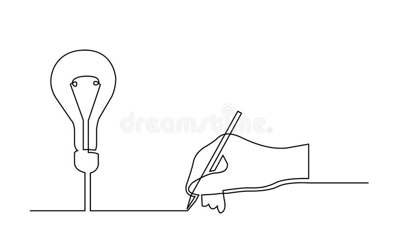 Continuous line drawing of hand creating a new idea royalty free illustration