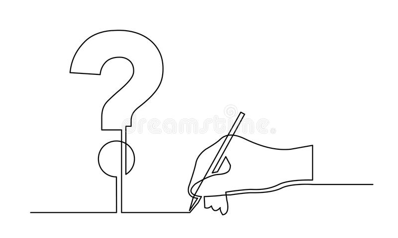 Continuous line drawing of hand drawing a question stock illustration