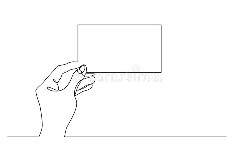 Continuous line drawing of hand holding blank horizontal piece of paper. Vector linear illustration stock illustration