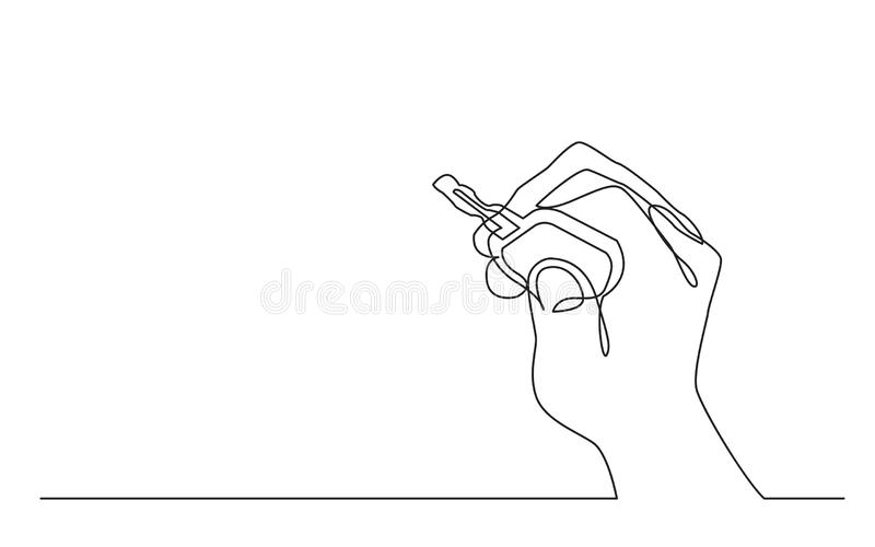 Continuous line drawing of hand holding car key stock illustration