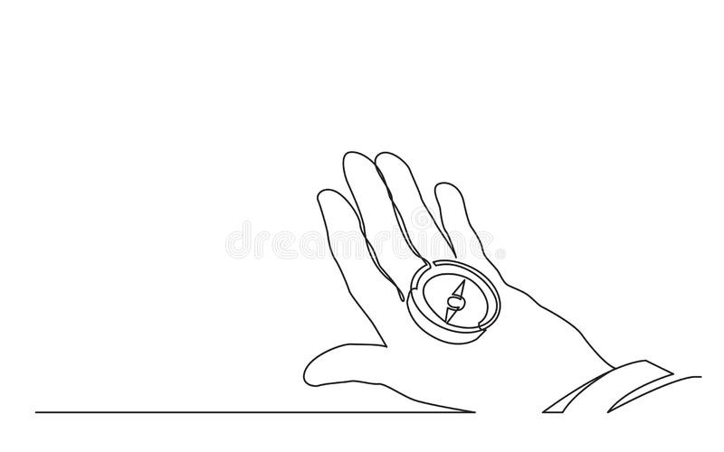 Continuous line drawing of hand holding compass stock illustration