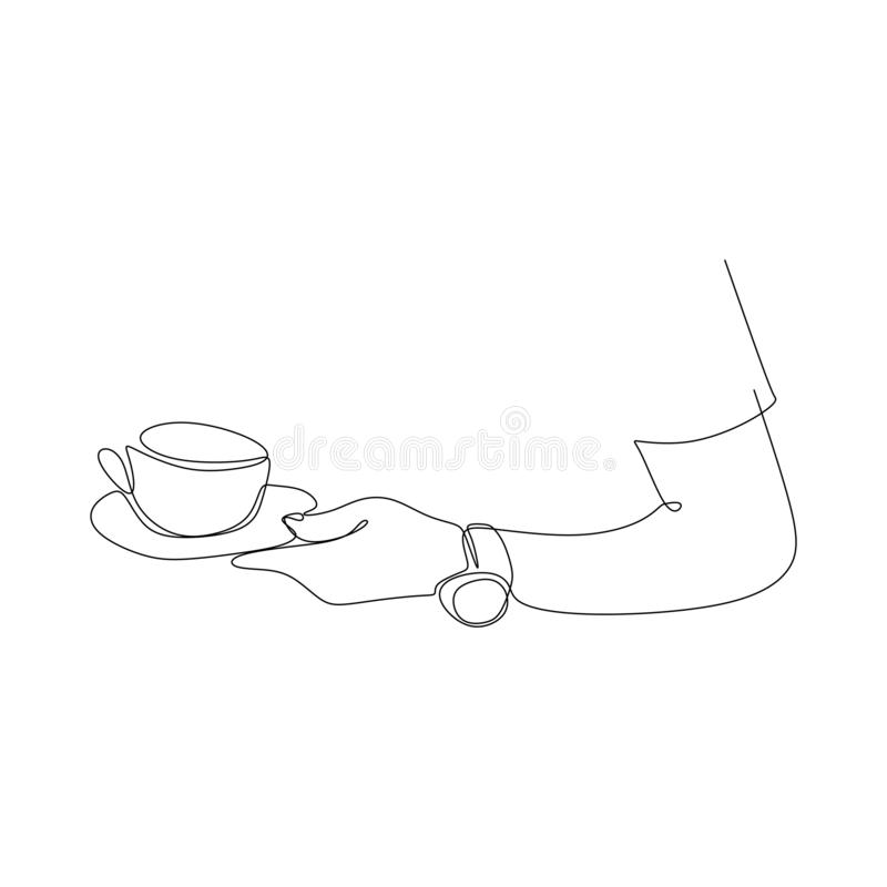 Continuous line drawing of the hand holding a cup of coffee royalty free illustration