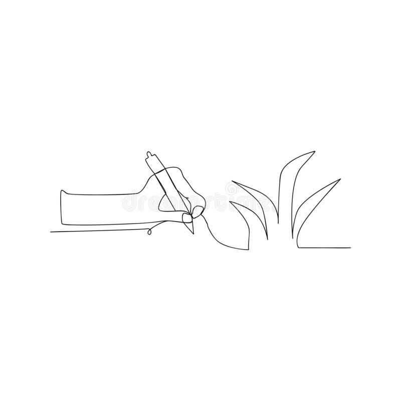continuous line drawing of hand with pen. isolated sketch drawing of hand with pen line concept. outline thin stroke vector royalty free illustration