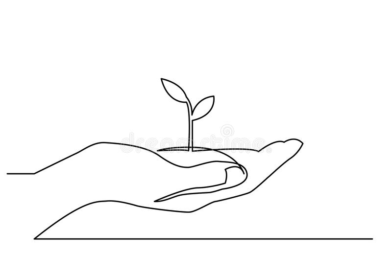 Line Drawing Editor : Continuous line drawing of hand showing growing plant